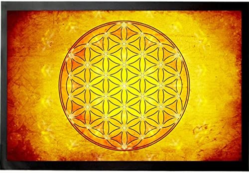 1art1 Mandalas Door Mat Design Floor Mat – The Flower of Life, Element Fire 24 x 16 inches