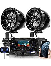 "GoHawk TS3 Gen.2 Motorcycle 3"" Waterproof Bluetooth Speaker 7/8-1 in. Handlebar Mount MP3 Music Player Audio Stereo Amplifier System ATV UTV w/AUX in, USB, Micro SD, FM Radio (TS3 Black)"