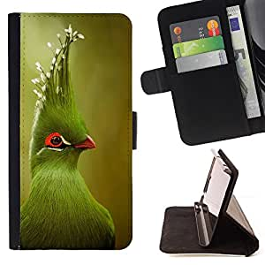 - Queen Pattern FOR Samsung ALPHA G850 /La identificaci????n del cr????dito ranuras para tarjetas tir????n de la caja Cartera de cuero cubie - green tropical bird green blurry nat