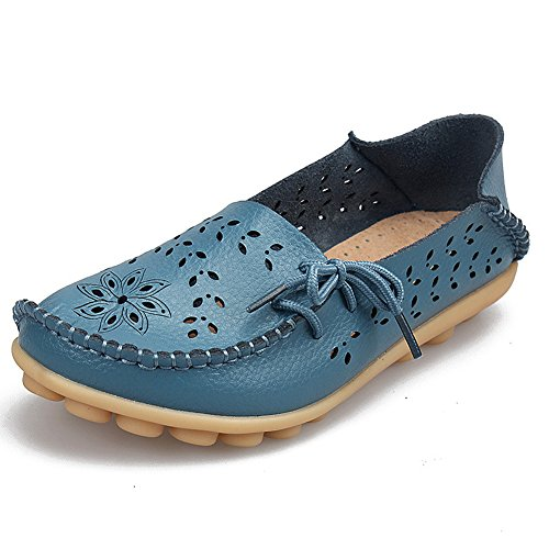 Women's Leather Loafers Moccasins Wild Driving Casual Flats Oxfords Breathable Shoes Light Blue 2