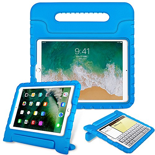 Fintie Case for Apple iPad 9.7 Inch 2018 Model (6th Gen) / iPad 9.7 2017 Model (5th Gen) / iPad Air - Kiddie Series Light Weight Shock Proof Convertible Handle Stand Cover Case Kids Friendly - Blue