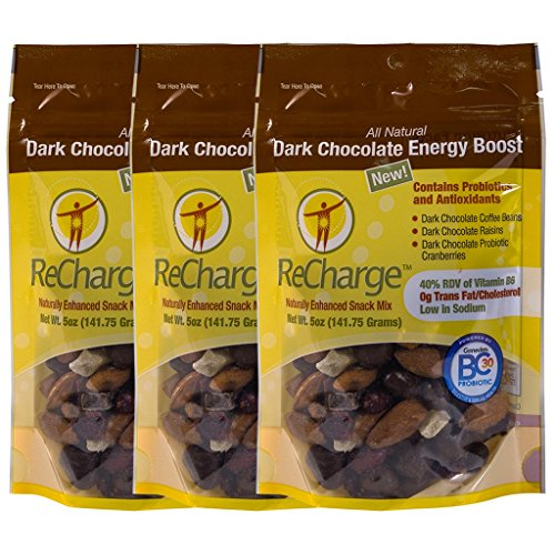 Truly Good Foods Dark Chocolate Energy Boost | ReCharge | Chocolate Coffee Beans, Probiotic Cranberries, Dark Chocolate Raisins, Cranberries, Almonds, Pineapple - 3 Pack, 5oz SUR bags ()