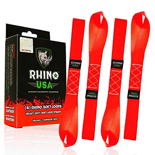 RHINO USA Soft Loop Motorcycle Tie Down Straps - Guaranteed 10,427lb Max Break Strength, Heavy Duty Tiedown Loops for Secure and Confident Trailering of Motorcycles, Dirtbikes, ATV, UTV (Red 4-Pack)