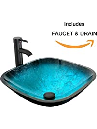 Eclife Turquoise Square Bathroom Sink