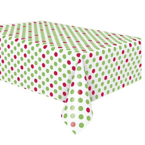 Red & Green Polka Dot Holiday Plastic Tablecloth 108 x 54