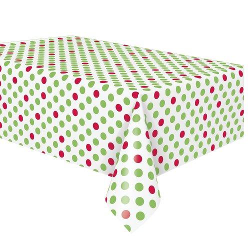 Red & Green Polka Dot Holiday Plastic Tablecloth 108 x 54