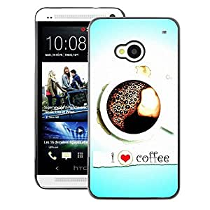 A-type Arte & diseño plástico duro Fundas Cover Cubre Hard Case Cover para HTC One M7 (I Love Coffee Heart Blue Black White)