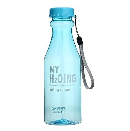Sannysis botellas plastico de agua deportes 550ML con pajita (Cielo)