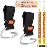 Eggsnow Stroller Hooks(2 Pack) Adjustable Stroller Hanger Clip Universal Handy Hook for Strollers/Walkers Aluminum-Black