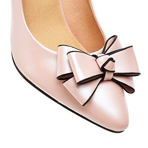 Amoonyfashion Mujer Pull On Spikes Stilettos Pu Bombas De Punta Cerrada En Punta Sólida-zapatos Pink