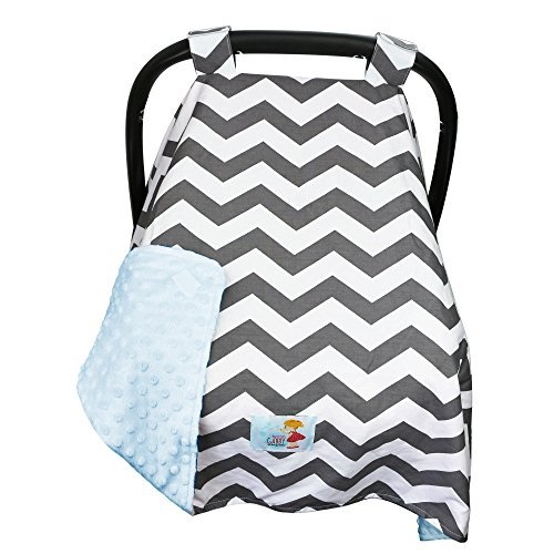 Cozy Infant Carrier Cover-BONUS Matching Bib-Gift-Best Baby Car Seat Canopy-Multi Use Blanket/Nursing Cover-Large Size-Breathable Designr-Gray Chevron/Blue Minky-Protect from Sun-Wind-Germs