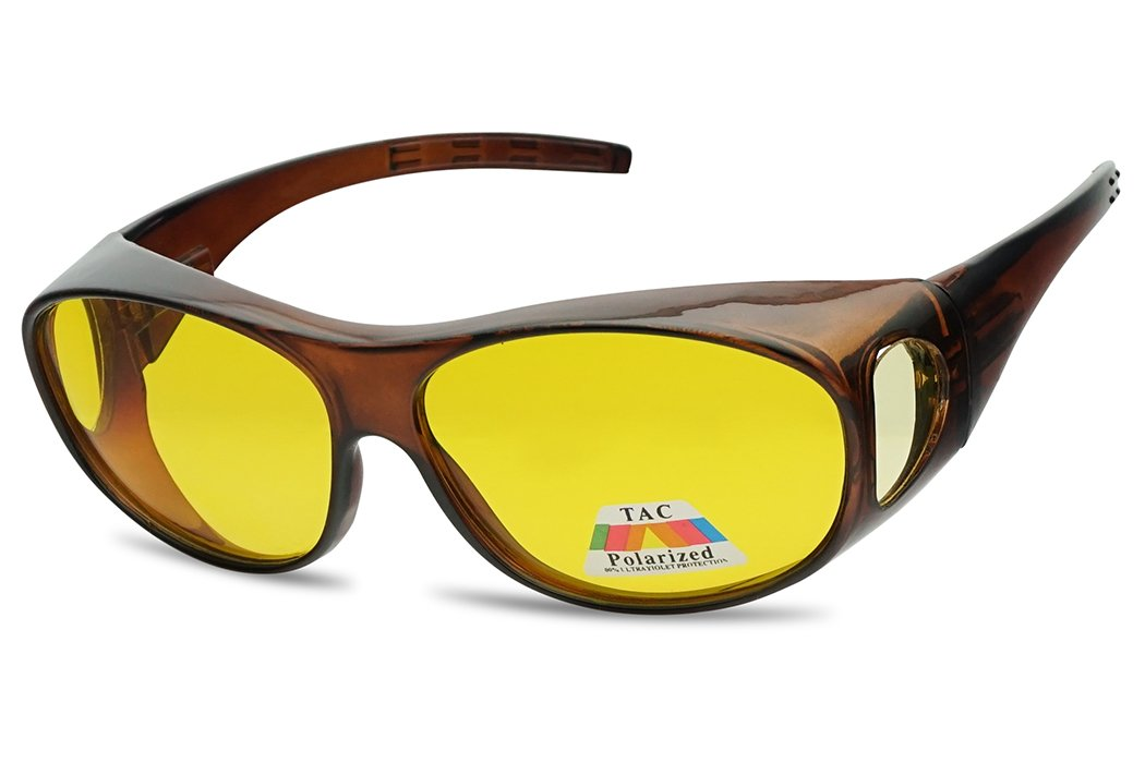 SunglassUP 62mm Polarized Wear Over Spring Hinge Sunglasses Fit over Prescription Glasses (Brown, Yellow (Polarized)) by SunglassUP