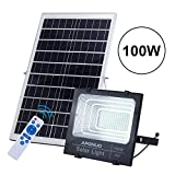 APONUO 100W Solar Powered Flood Lights, 6500K 196 LED 5000 Lumen Outdoor Street Light Auto-Induction IP67 Waterproof with Upgraded Remote Control Security Lighting for Lawn, Gutter, Pathwa