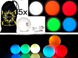 5x Pro LED Glow Juggling Balls - Ultra-Bright - MIX COLORS- Battery Powered Glow LED Juggling Ball Set of 5 with Drawstring Travel Bag!