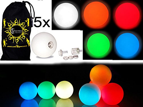 5x Pro LED Glow Juggling Balls - Ultra-Bright - MIX COLORS- Battery Powered Glow LED Juggling Ball Set of 5 with Drawstring Travel Bag! - Balls Led Juggling