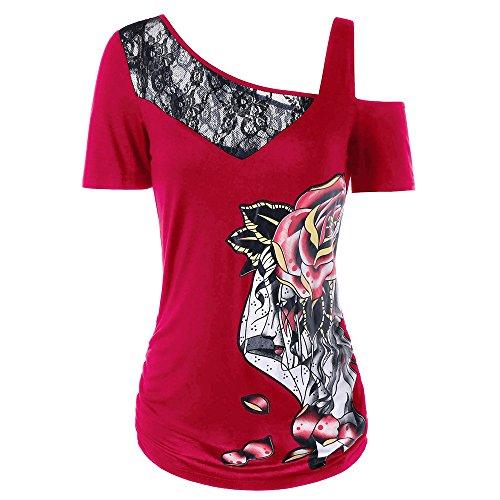 HGWXX7 Women Summer Fashion Sexy Lace Rose Print Short Sleeve T-Shirt Top Blouse (L, (Rose Fish Knife)