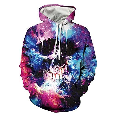 HHGKED Unisex 3D Realistic Printed Galaxy Pullover Hooded Sweatshirt Hoodies (L, a-blackskull) (Design Hoodie)