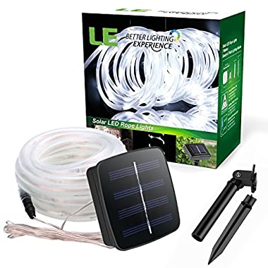 LE 16.5ft LED Solar Rope Lights, Waterproof, 50 LEDs, Outdoor Rope Lights, Daylight White, String Light, Portable, with Light Sensor, Multi-color Decorative light Ideal for Christmas, Wedding, Party, Gardens, Lawn, Patio