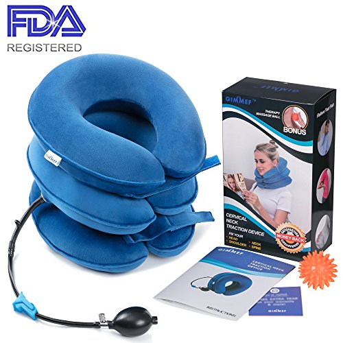 Traction Device - FDA Registered - Inflatable & Adjustable Neck Stretcher Collar, Instant Pain Relief for Chronic Neck and Shoulder Pain ✮ Bonus Therapy Massage Ball ()