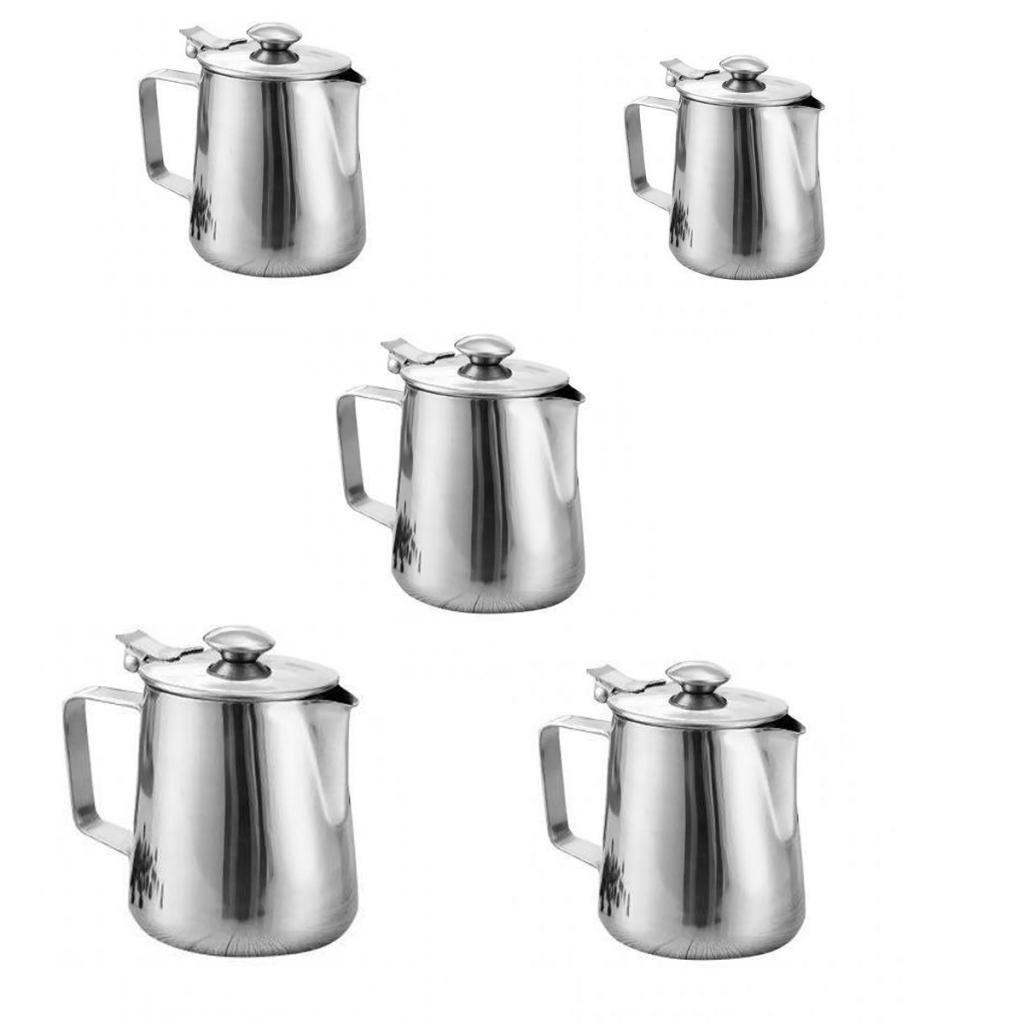 MonkeyJack 5 Sizes Silver Stainless Coffee Pitcher Milk Frothing Latte Jug Bar DIY