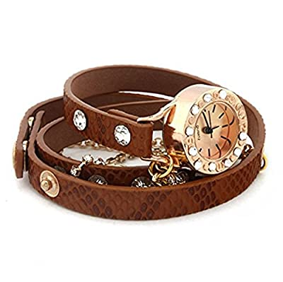 PromiseU Leather Bracelet Woman Rhinestone Rivet Chain Quartz Wrist Watch