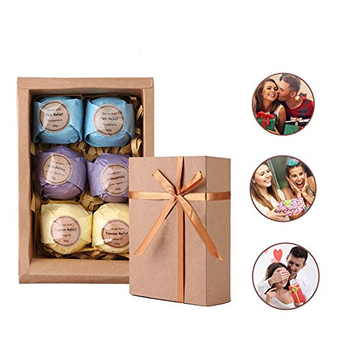 Bath Bombs Gift set Rackarster,with Natural Ingredients for Dry Skin and Make you Relaxing, Best Aromatherapy and Gift for your Friends. (Pack of 6 )