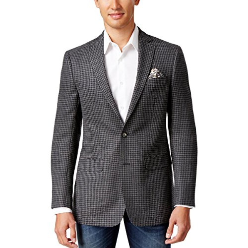Nice Tallia Mens Wool Pattern Two-Button Blazer Gray 36R hot sale
