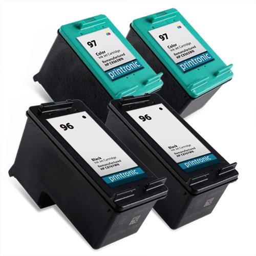 Printronic Remanufactured Ink Cartridge Replacement for HP 96 HP 97 C8767WN C9363WN (2 Black 2 Color) 4 Pack