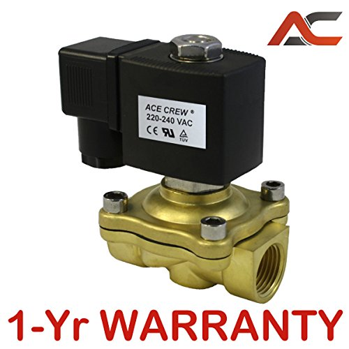 VITON 1/2 in 220V-240V AC Brass Solenoid Valve NPT Gas Water Air Normally Closed