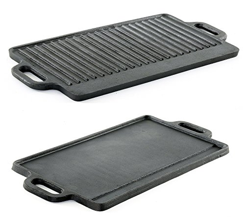 ProSource Professional Heavy Duty Reversible Double Burner Cast Iron Grill Griddle 20 by 9-Inch Black (Renewed)