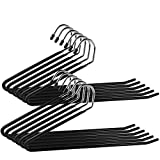 12 PCS Pants Hanger, IPOW Heavy Duty Hangers Slacks/Trousers Jeans or Scarf Tie,Open Ended Hanging Easy Slide Organizers, Metal Rod with a Large Diameter,Chrome and Black Friction
