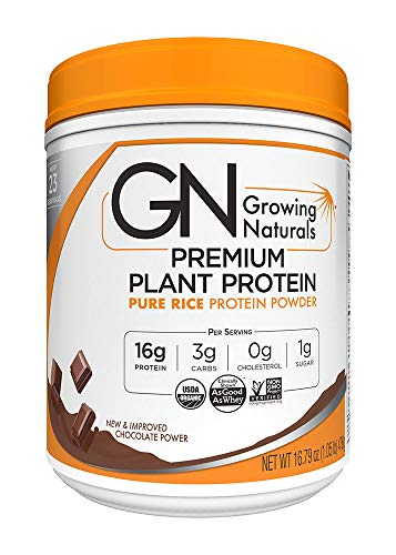 Premium Natural - Growing Naturals Organic Premium Rice Protein Powder, Chocolate, 16.8 Ounce