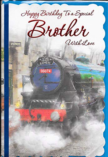Special Brother Birthday Card***STEAM Train Theme***9 X 6 INCHES**1ST Class Post**AB7**