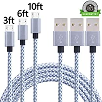 AOFU Micro USB Cable,4Pack 3FT 6FT 6FT 10FT Long Nylon Braided High Speed 2.0 USB to Micro-USB Charging Cables Android Fast Charger Cord Samsung Galaxy S7 Edge/S6/S4, Note 5/4,(Gray&White)