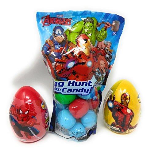 Happy Easter Basket Kids Toddlers Filled Unique Stuffers Themed Prefilled Gift Children Pre Made Eggs Goodies Plastic Marvel Iron Man Hulk Thor Spider-man Captain America BONUS 2 JUMBO (Bag Server)