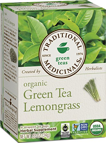 Traditional Medicinals Organic Green Tea Lemongrass Tea, 16 Tea Bags (Pack of 6)