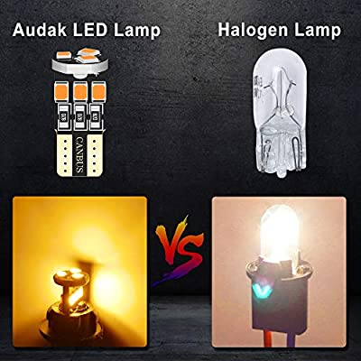 Audak 194 LED Bulb T10 W5W 2825 158 192 168 Canbus 9SMD 2835 Chipset Amber Yellow Extremely Bright Non-polarity for Car Interior Dome Map Door Courtesy License Plate Trunk Lights (Pack of 10): Automotive