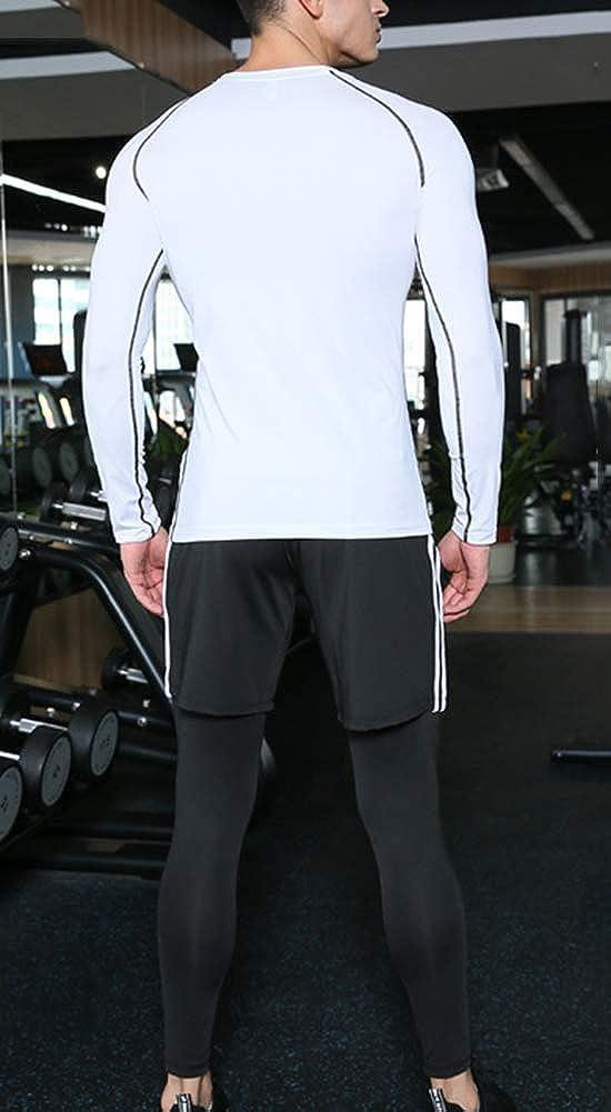 Homme Gym Sports Base Layer T-Shirt+Jogging+Shorts Set Ensembles de Fitness,Trois Pi/èces