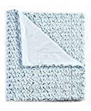 De Moocci Plush Flower Reversible Faux Fur Throw Blanket For Couch 50x60. Year-Round, Top Quality, Will NOT Shed. Super Soft, Plush, Cozy and Great Gift. Enhance Your Home Décor- Blue