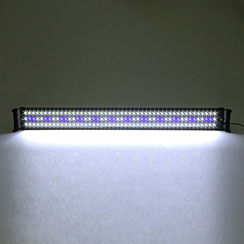 Deckey Lámpara de acuario luces para acuarios de peces y estanques, 95-115 cm 25W 144 LED (120 blanco + 24 azul), con enchufe EU