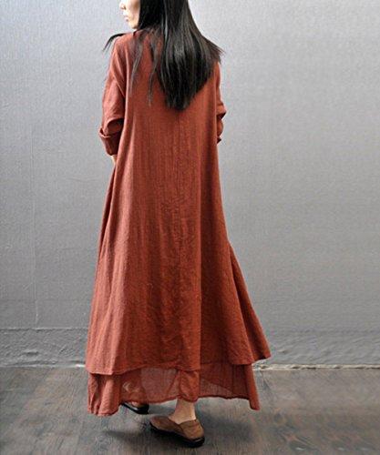 Coton Occasionnel Irrégulier Femmes Lin Lâche Rouge Robe Maxi À Manches Longues