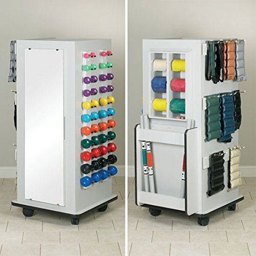 28'' x 28'' x 66'' White Atlas TowerRac Mobile Weight Rack - with Mirror - CL-5139