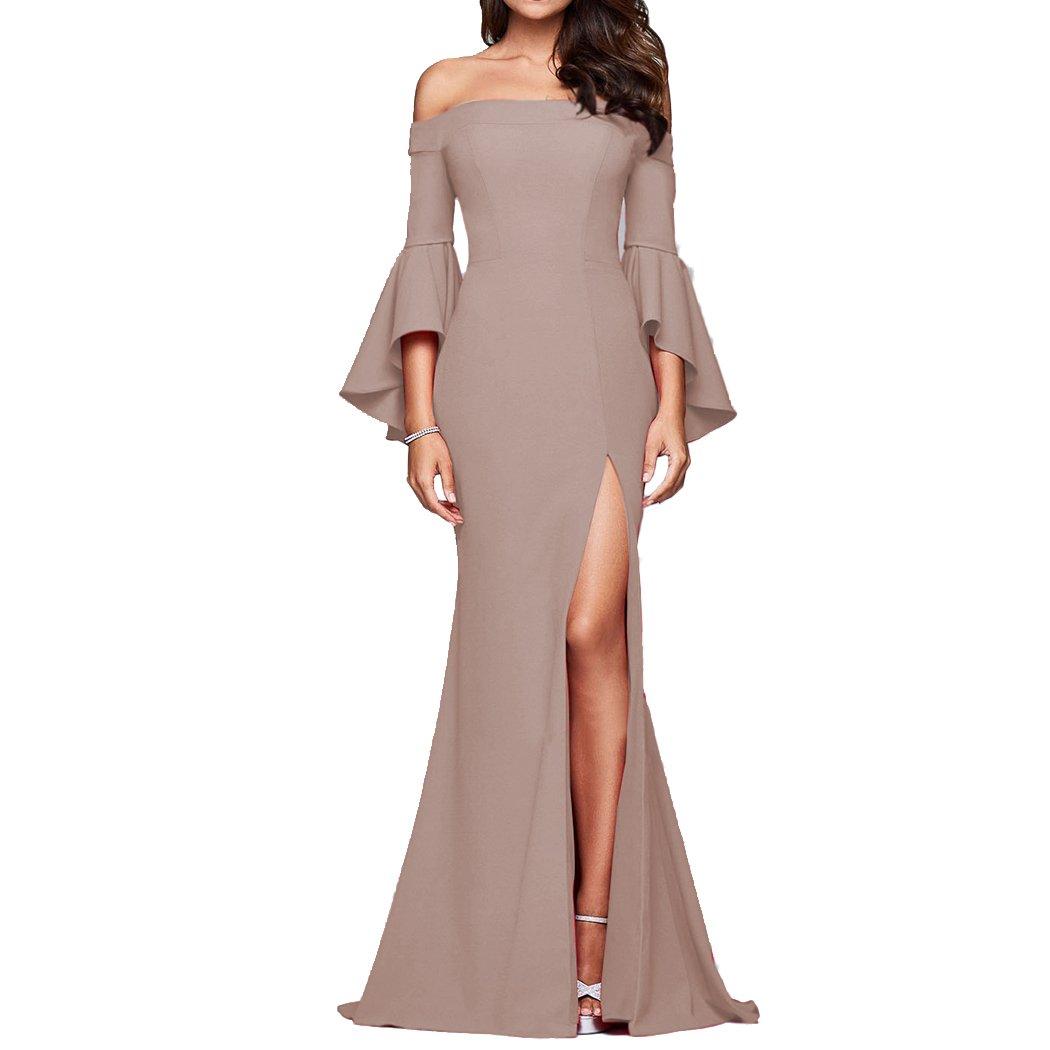 8768c975e0511b HANMAX Damen Elegante Trompete Ärmellos Schulterfrei Lang Maxi Kleid  Einfarbig Festlich Hochzeit Abendkleid Cocktailkleid Partykleid: Amazon.de:  Bekleidung