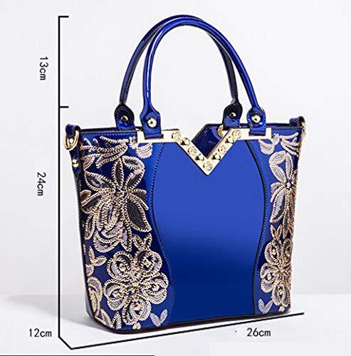 Vernice A Gold Borsetta Donna Moda In Ricamato Brillante Pelle Borsa Alla blue Mobile Tracolla p1qCA