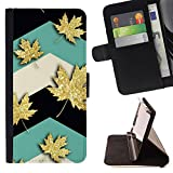 SKCASE Center / Flip Wallet PU Leather Case Cover for Apple Iphone 5C / Maple Leaf Canada Teal