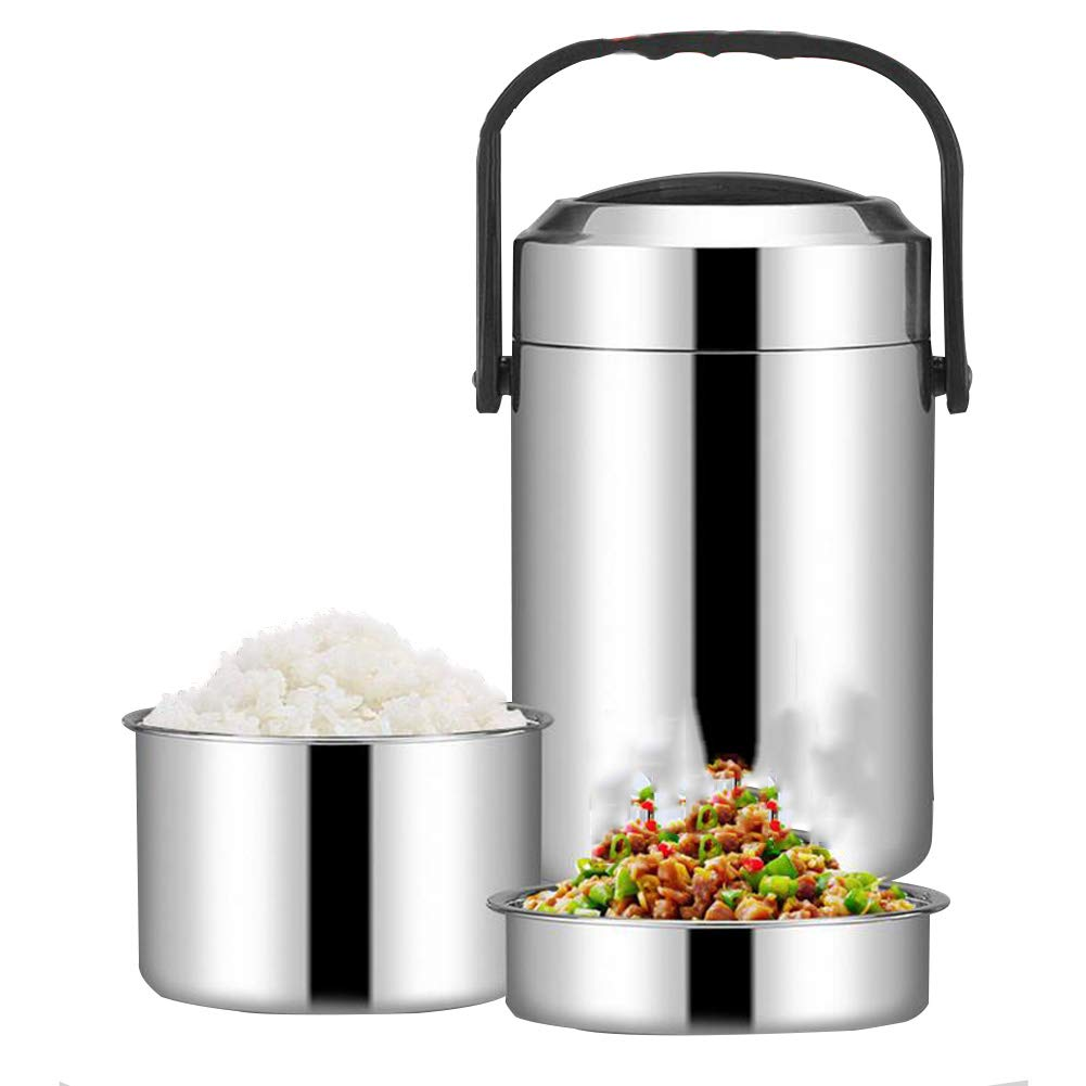 Food Soup Flask with Flask with Free Insulated Container for Lunch with Bowls Eat Your Food Hot Everywhere, Vacuum Insulated Lunch Box,Black,1.5L [Energy Class A] DINNA