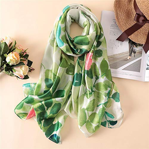 2018 Luxury Brand Women Silk Scarf Beach Shawl And Echarpe Green Leaf Print Designer Scarves Female Beach Stole Bandana Women's Scarves