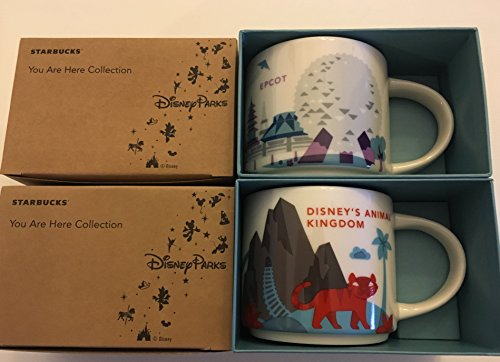 Set Of 2: Disney Animal Kingdom +Epcot Version 2 Starbucks You Are Here YAH 14 Oz. Mugs