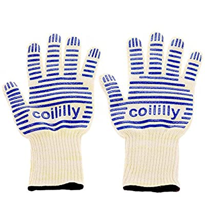 Coililly Heat Resistant Cooking Gloves Up to 932°F EN407 Certified - Oven Kitchen Mitts set of 2 For Holding Pots, BBQ, Grill,Baking & More- Non-Slip Grip- Lightweight & Comfy- Premium BBQ Accessories by coililly