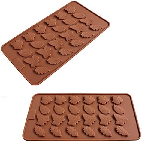 2 PCS - 24 Cavity Maple Leaves Ice Cube Tray Fondant Silicone Mold Sugar Chocolate Mold Candy Molds